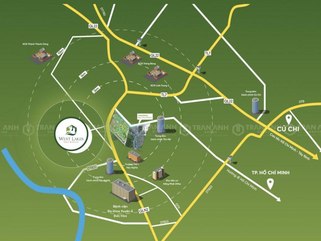 West Lakes Golf & Villas dự án có vị trí chiến lược tại khu Tây Sài Gòn