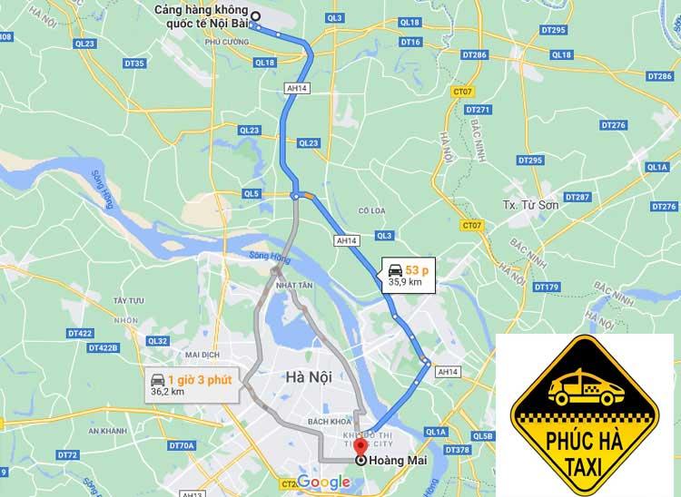 Đặt taxi sân bay Nội Bài - quận Hoàng Mai trọn gói giá rẻ