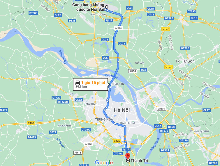 Taxi Sân Bay Nội Bài về Quận Thanh Trì giá rẻ